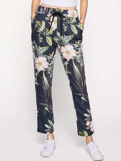 Pantalons avec cordon imprimé fleur