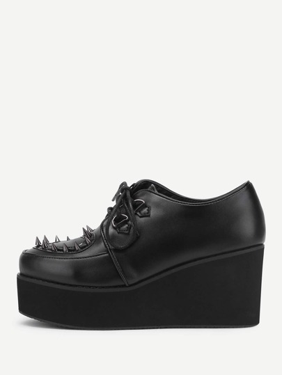 Rockstud Detail Lace Up Platform Wedges