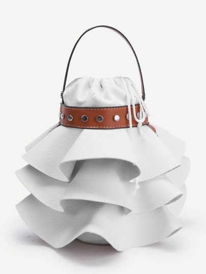 Tiered Bucket Bag With Chain