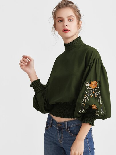 Embroidery Lantern Sleeve Shirred Hem Blouse