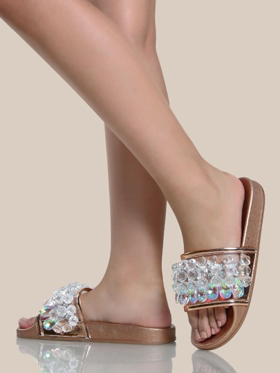 Crystal Embellished Flat Slides ROSE GOLD