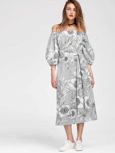 Bardot Lantern Sleeve Slit Side Florals Dress