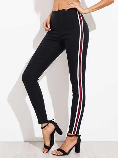 Pantalons moulant rayure côté