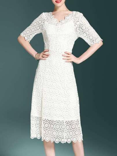 V Neck Crochet Hollow Out Dress