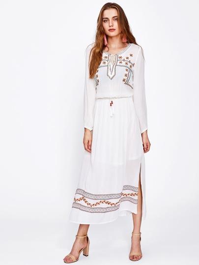 Tie Neck Shirred Waist Side Slit Embroidered Dress
