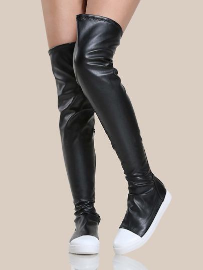 Round Toe PU Thigh High Boots BLACK
