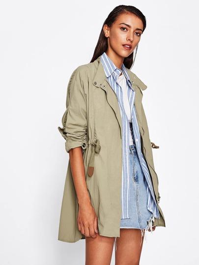 Contrast Sleeve Elastic Waist Utility Jacket