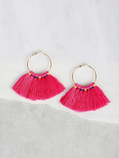 Colorful Tied Tassel Hoop Earrings FUSCHIA