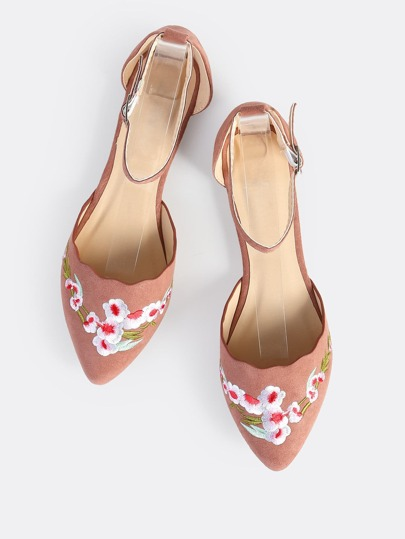 Embroidered Scallop Trim Flats MAUVE