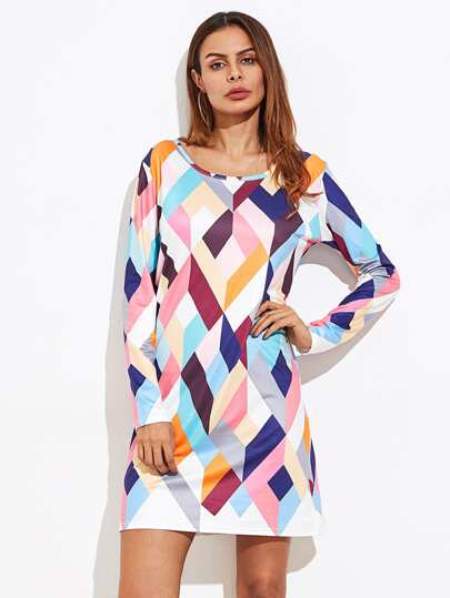 Abstract Geo Print Tee Dress