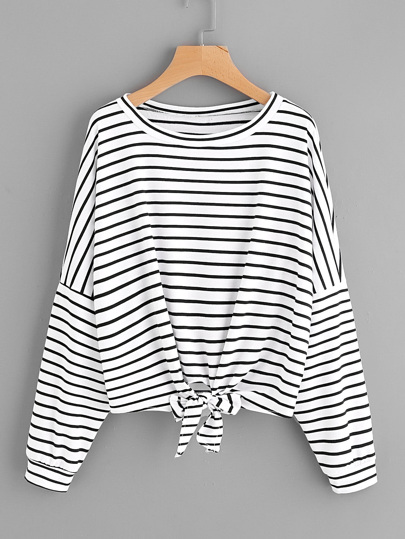 Striped Tie Front Drop Shoulder Tee