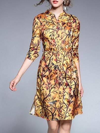 Trees Print Split Sheath Dress