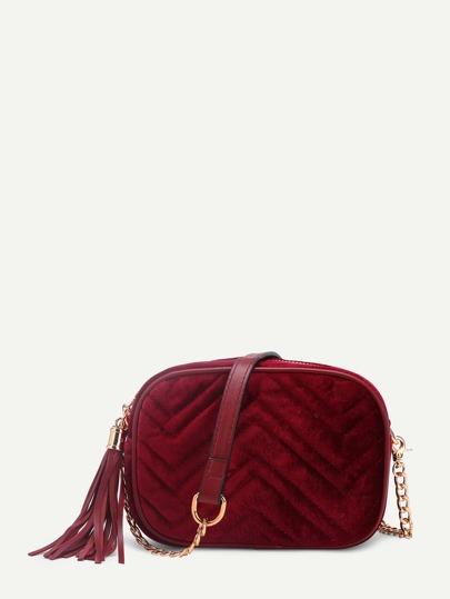 Chevron Stitch Velvet Crossbody Bag With Tassel