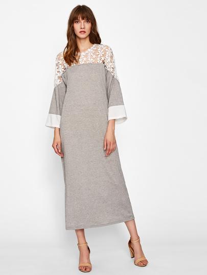 Contrast Lace Crochet Yoke Dress