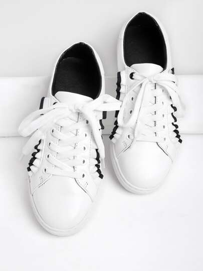 Contrast Frill Trim Detail Lace Up Sneakers