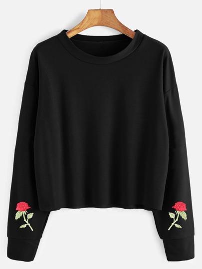 Drop Shoulder Embroidered Raw Hem Sweatshirt