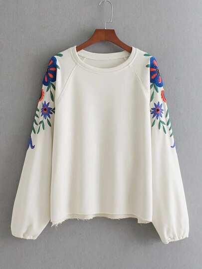 Embroidered Flower Raglan Sleeve Sweatshirt