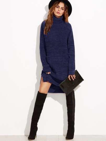 Roll Neck Pocket Front Stepped Hem Sweater Dress