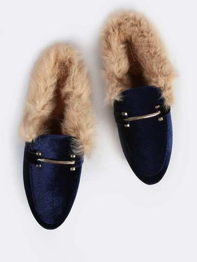 Fur Lined Point Toe Loafers NAVY