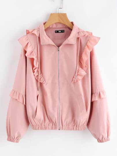 Frill Trim Hooded Jacket