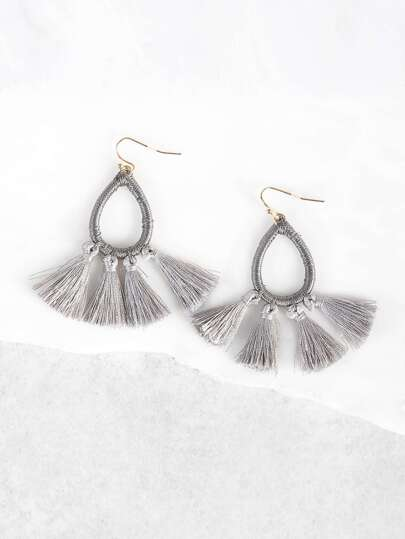O Ring and Tassel Earrings GREY