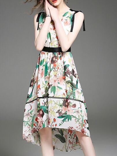 V Neck Floral High Low Dress