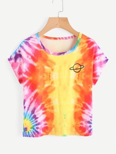Camiseta de color acuarela con estampado de planeta