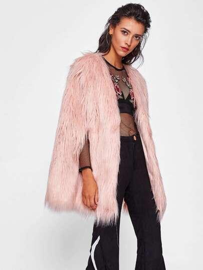Fluffy Faux Fur Cape Coat