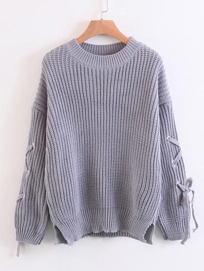 Eyelet Lace Up Sleeve Side Slit Sweater
