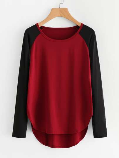 Tee-shirt manche raglan bord courbé contrasté asymétrique