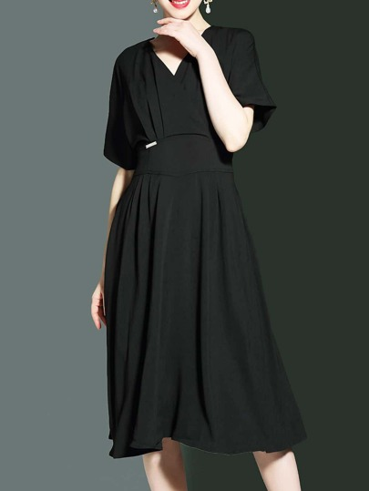 V Neck Batwing Sleeve A-Line Dress