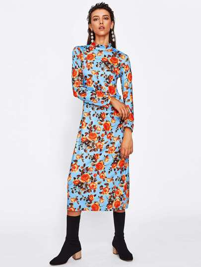 Band Collar Floral Print Sheath Dress