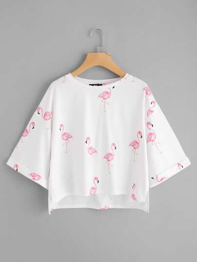 Drop Shoulder Flamingo Print Step Hem Tee