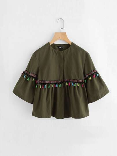 Bell Sleeve Tassel And Embroidered Tape Detail Jacket