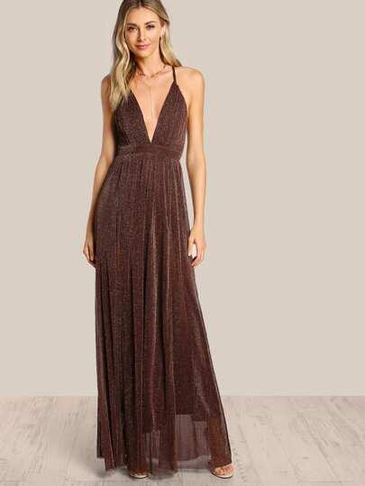 Spaghetti Strap Glitter Overlay Dress