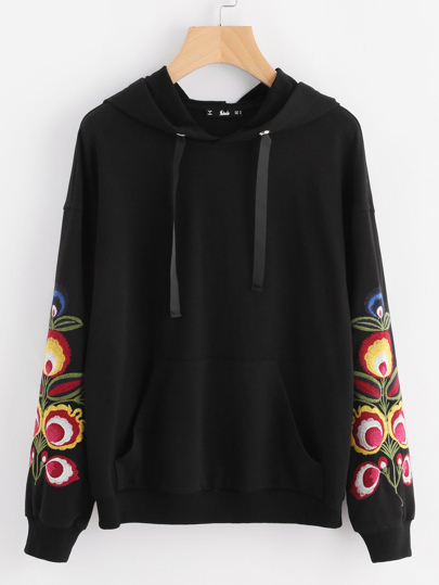 Flower Embroidered Pocket Front Hoodie