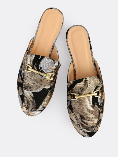 Shiny Stitched Loafers BLACK ROSE GOLD
