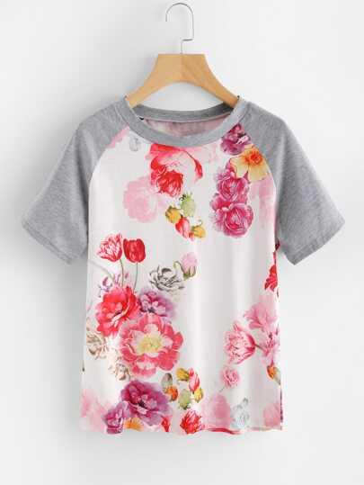 Tee-shirt manche raglan contrasté imprimé fleuri