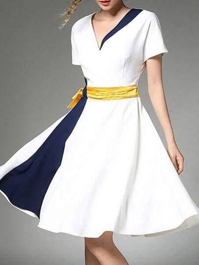 V Neck Color Block Dress