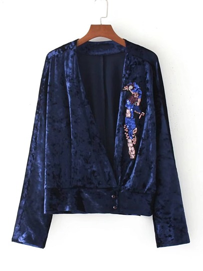 Sequin Detail Plunge Neckline Crushed Velvet Top