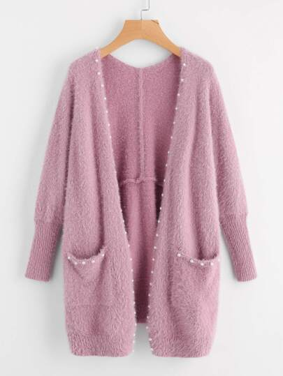 Pearl Beading Pocket Front Fuzzy Sweater Coat