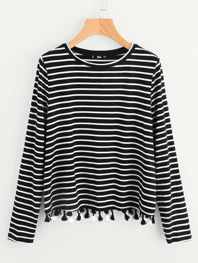 Tassel Hem Striped Top