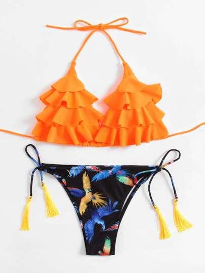 Layered Flounce Tassel Tie Bikini Set