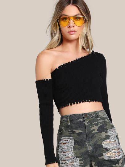 Single Shoulder Ribbed Crop Top BLACK