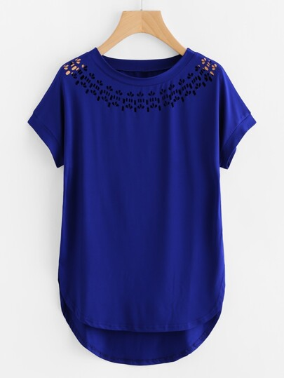 Laser Cut High Low Curved Hem T-shirt