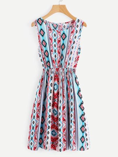 Robe taille élastique imprimée Aztèque