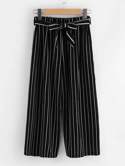 Vertical Stripe Self Tie Wide Leg Pants