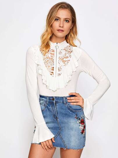 Zip Up Lace Yoke Frill Trim Ribbed Tee