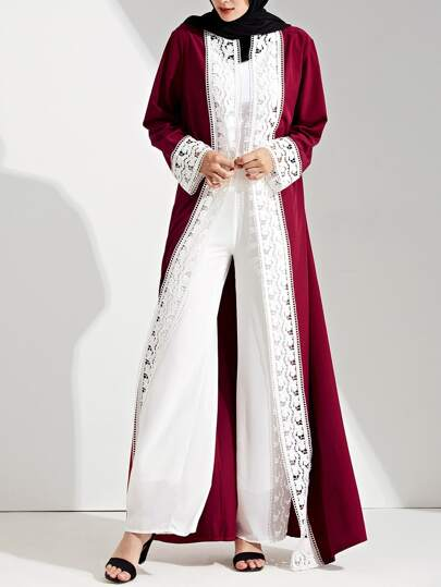 Contrast Lace Crochet Cuff And Placket Abaya