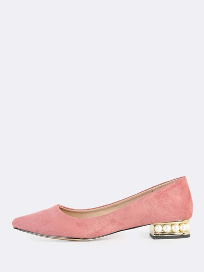 Point Toe Gold & Peal Heel Flats DUSTY BLUSH